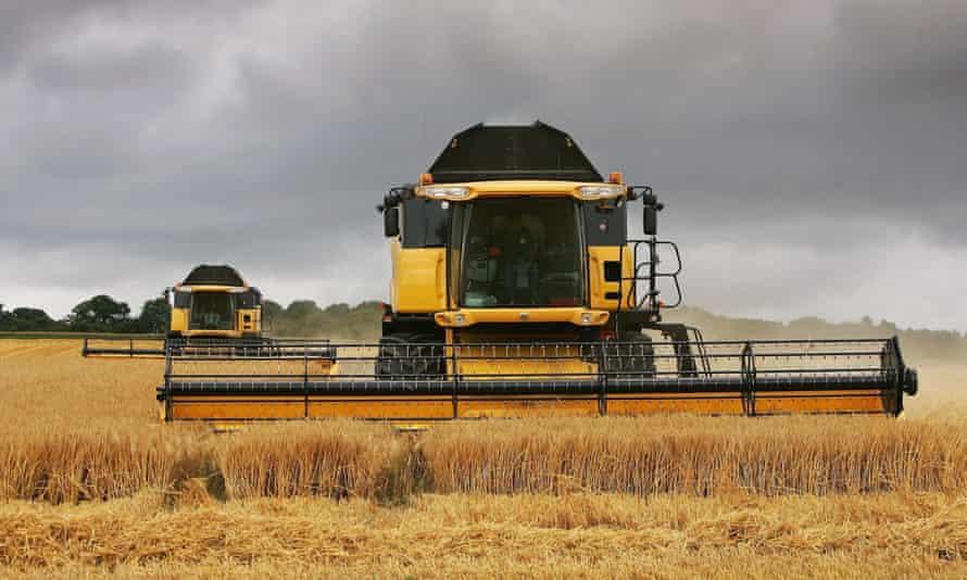 Combine harvesters in a Salisbury field