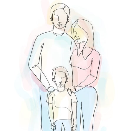 parents with their child line drawing