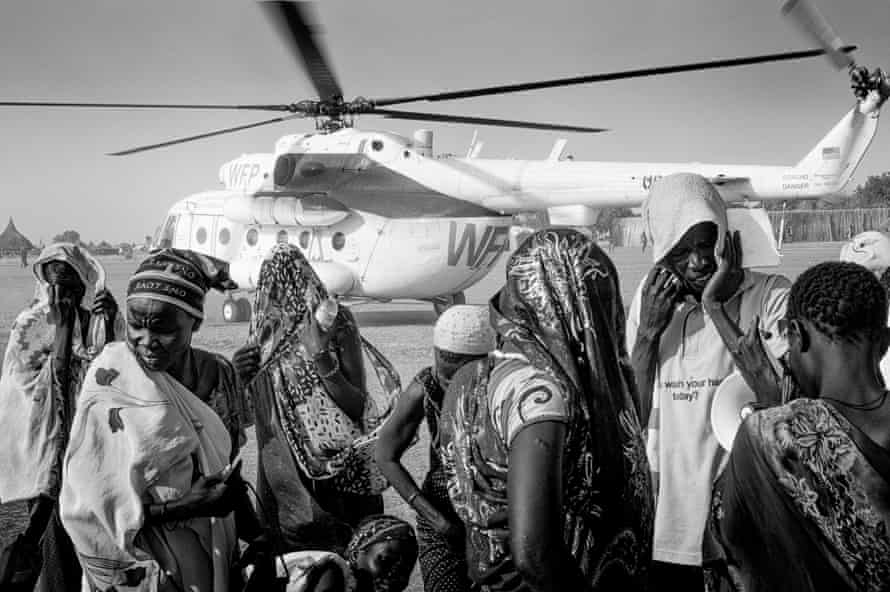 A World Food Programme helicopter departs from Ganyiel, South Sudan
