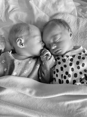Cassidy and Coralie, identical twin girls born on 1 April