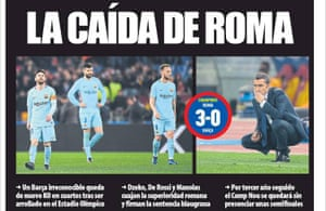 Mundo Deportivo on Roma 3-0 Barcelona