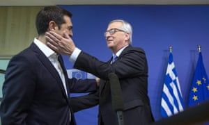 "Greek Prime Minister Alexis Tsipras (L) is welcomed by European Commission President Jean-Claude Juncker for a meeting ahead of a Eurozone emergency summit on Greece in Brussels, Belgium June 22, 2015. The European Union welcomed new proposals from Tsipras as a ""good basis for progress"" at talks on Monday where creditors want 11th-hour concessions to haul Athens back from the brink of bankruptcy. REUTERS/Yves Herman"