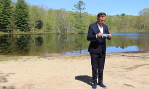 Governor Ned Lamont at Gay City state park in Hebron, Connecticut. 'If you have to stay home for a period of time having a nice little backyard is not a bad way to do it.'