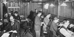 The tape and telegraph room of the Daily Express newspaper, 1903