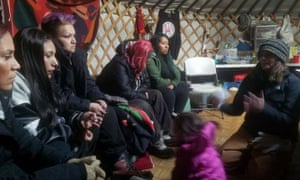 Alisha Custer – whose lineage traces back to the US army commander who led the 19th century wars against Lakota Sioux and Cheyenne warriors – meets with Standing Rock members.