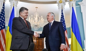 Ukraine's president, Petro Poroshenko, shakes hands with the US secretary of state, Rex Tillerson, in Washington.