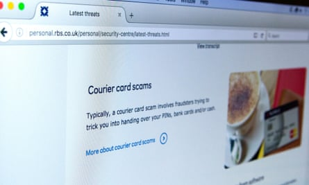 A warning about courier card scams on a bank's website