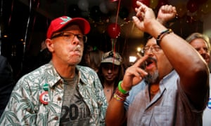 People celebrate after Californians voted to legalize recreational use of marijuana.