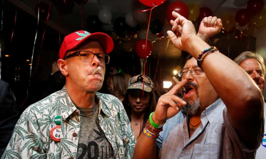Californians celebrate after the state's voters approved the legalisation of cannabis on 8 November.