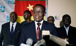 Maurice Kamto holds a news conference in Yaoundé, Cameroon
