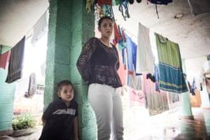 Wendy Gomez Guzmen 26, with her son, who is three