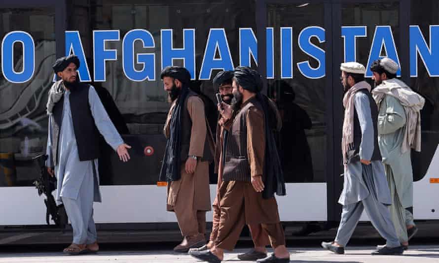 Members of the Taliban at Kabul airport.