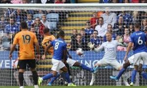 Leander Dendoncker of Wolves finds the net against Leicester City but his goal was ruled out by VAR.