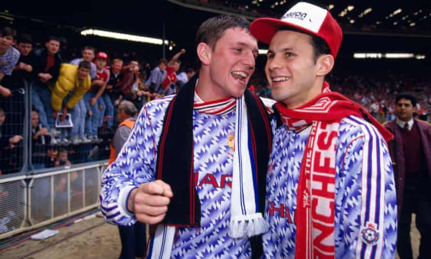 Lee Sharpe, left, and Ryan Giggs celebrate Manchester United's victory over Nottingham Forest in the 1992 Rumbelows Cup final