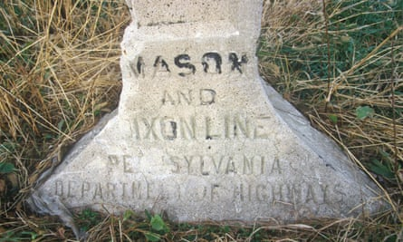 A marker at the Mason Dixon line separating North from South during Civil War.