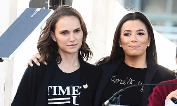 Longoria with Natalie Portman at the Women's March in Los Angeles in 2018.