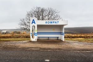 A bus stop on the outskirts of Comrat