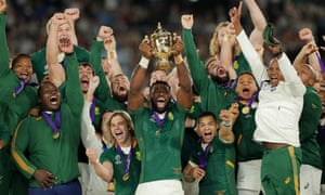 South African captain Siya Kolisi holds the Webb Ellis Cup aloft after South Africa defeated England to win the Rugby World Cup final in Yokohama, Japan.