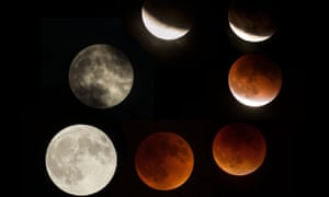 The different stages of the 'blood moon' and super moon during the total lunar eclipse.
