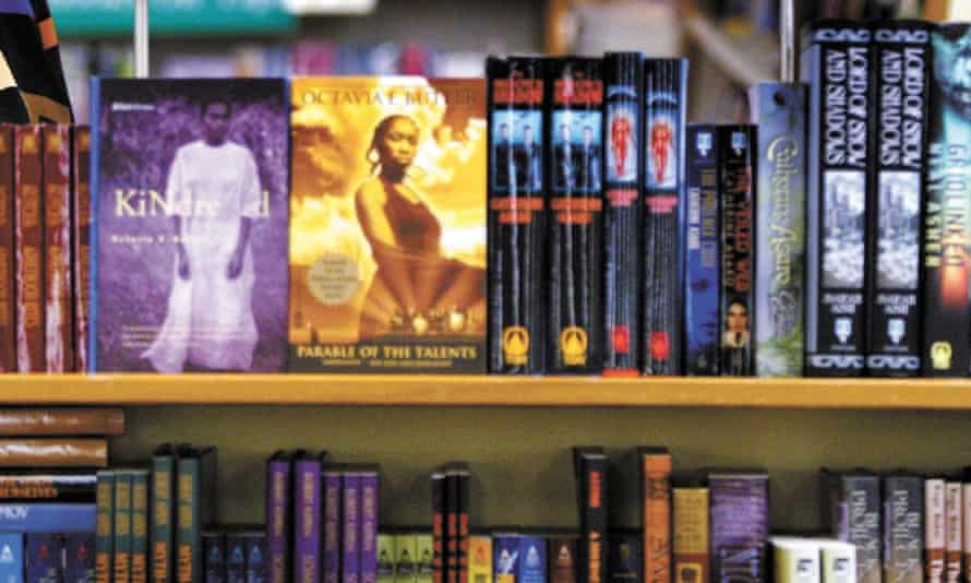 A science fiction shelf in the University Book Store in Seattle.