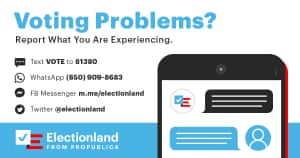 A graphic with contact information for voters experiencing voting problems