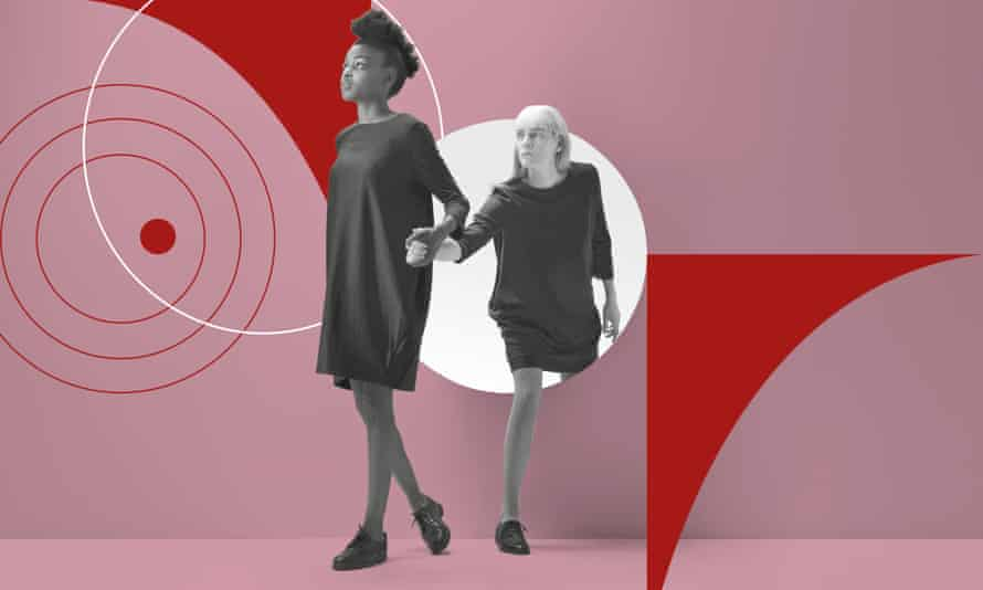 Illustration: a woman leading another woman by the hand, posed by models