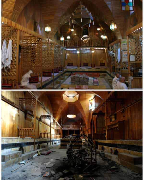 A combination picture shows Hamam El Nahasin in the Old City of Aleppo, Syria, before and after it was damaged in the war.