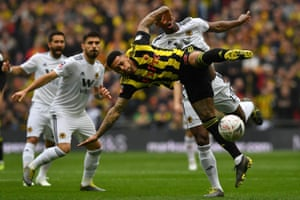 A fiery start as Wolverhampton Wanderers' French defender Willy Boly vies with Watford's English striker Andre Gray