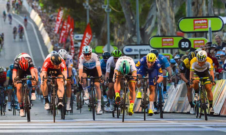 Peter Sagan (in the green helmet) dips for the line to win the People's Choice Classic in Adelaide this month