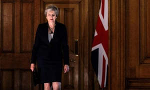 Britain's Prime Minister Theresa May arrives to make a statement on the Brexit negotiations following a European Union summit in Salzburg on Friday.