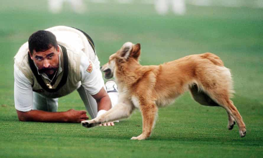 Merv Hughes, playing with a dog at Trent Bridge in 1993.