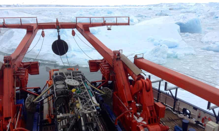 The seafloor drilling rig at work by the edge of the Pine Island glacier.