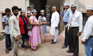 Save Water campaigners, with AAP leader Somnath Bharti in white in the centre, in New Delhi