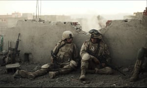 Tye Sheridan, left, and Alden Ehrenreich in a scene from The Yellow Birds.