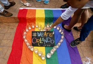 A vigil to pay tribute to the victims of the Pulse nightclub shooting in Orlando, Florida, 2016