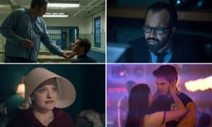 Kind of Blue: (clockwise from top left) Mindhunter, Westworld, The Handmaid's Tale and Riverdale