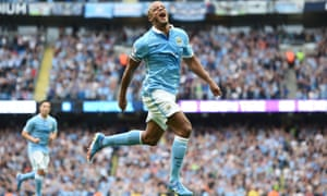 Vincent Kompany celebrates scoring his side's second goal.