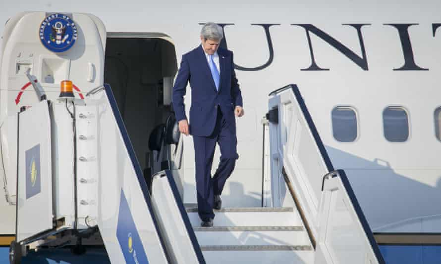 US Secretary of State John Kerry disembarks from his aircraft