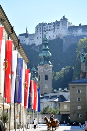 European flags displayed on a street outside the Hofstallgasse, on the eve of the start of a two-day EU summit Salzburg.