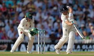England's Joe Denly hits the ball to Steve Smith who catches it and Denly is out.
