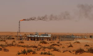 Oil installation in the desert near Khouris, Saudi Arabia. A slump in oil prices has led to the country's credit rating being downgraded.