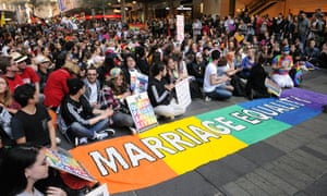 Supporters of marriage equality attend a rally in Sydney on 13 August.