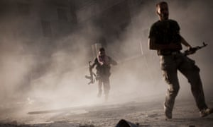 Members of Free Syrian Army groups fight Assad forces in Aleppo