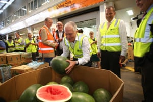 A trip down melon-mry lane: Guardian Australia's photographer-at-large Mike Bowers, out on the campaign trail, snapped prime minister Malcolm Turnbull on his visit to Brisbane Markets in the federal seat of Moreton. Turnbull said on Twitter his first job was loading watermelons at Sydney markets.