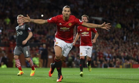 Zlatan Ibrahimovic celebrates after scoring from the penalty spot to double Manchester United's lead.
