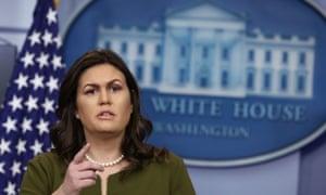 Sarah Sanders in the White House press room on Thursday.