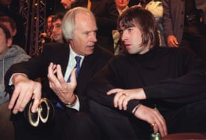 Chatting with a young Liam Gallagher in 1996.