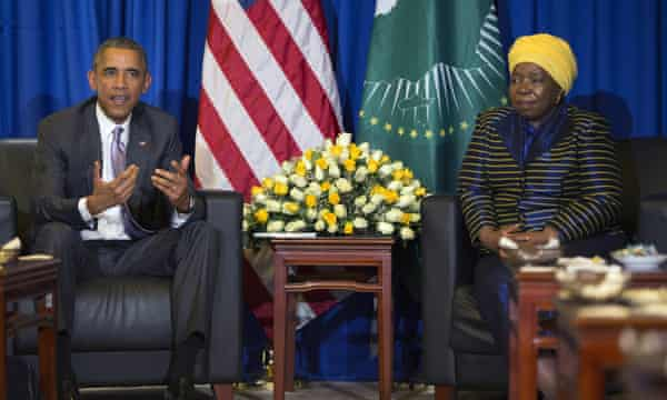 Barack Obama and Nkosazana Dlamini-Zuma of South Africa, the African Union Commission chairperson.
