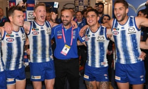 Kangaroos coach Rhyce Shaw celebrates with his players