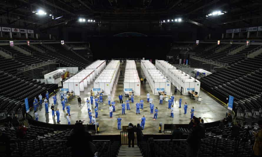 The new vaccination centre in Belfast's Odyssey SSE Arena
